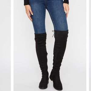 Charlotte Russe Lace Up Thigh High Boot Almond Toe